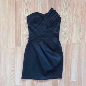 Forever 21 Black Shiny Strapless Formal Mini Dress